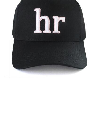 hr – snapback negro letras blancas con rosa front